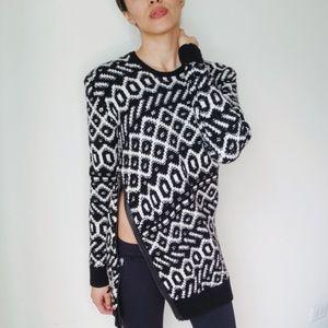 Ann Taylor Black and White Asymmetric sweater